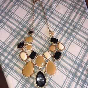 Kate spade black white gold statement necklace